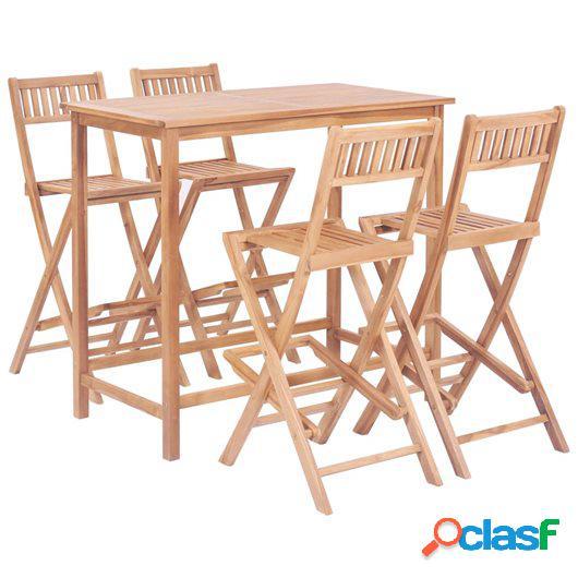 Set mesa y sillas de bar de jardín 5 pzas madera maciza