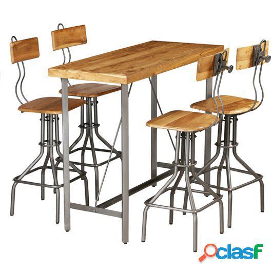Set mesa y sillas de bar madera teca maciza reciclada 5