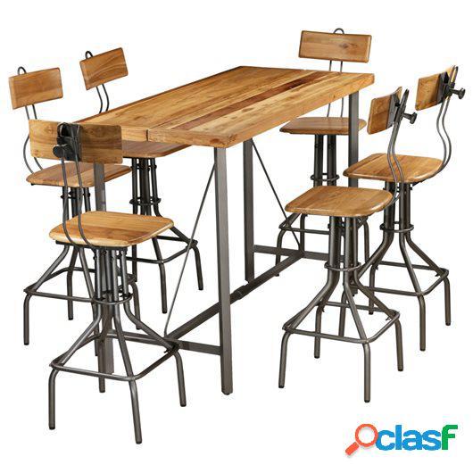 Set mesa y sillas de bar madera teca maciza reciclada 7