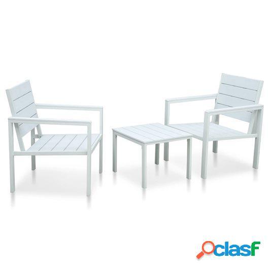 Set mesa y sillas de jardín 3 pzas HDPE blanco aspecto