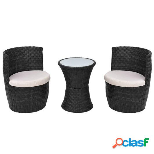 Set mesa y sillas de jardín 3 pzas y cojines poli ratán