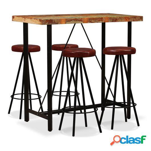 Set muebles de bar 5 pzas madera maciza reciclada cuero