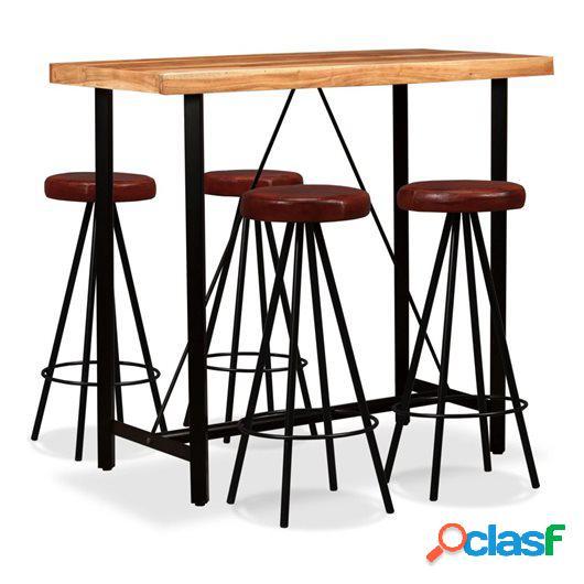 Set muebles de bar 5 pzas madera maciza sheesham cuero