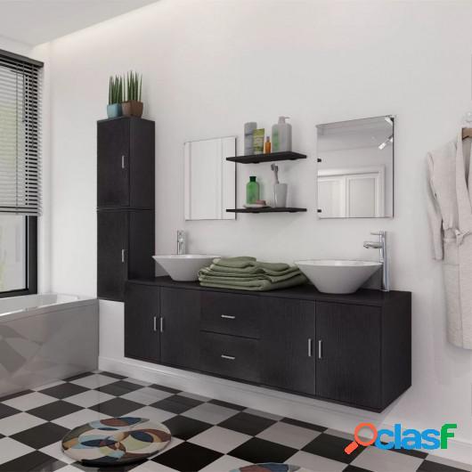 Set muebles para baño con lavabo y grifo 11 uds Negro