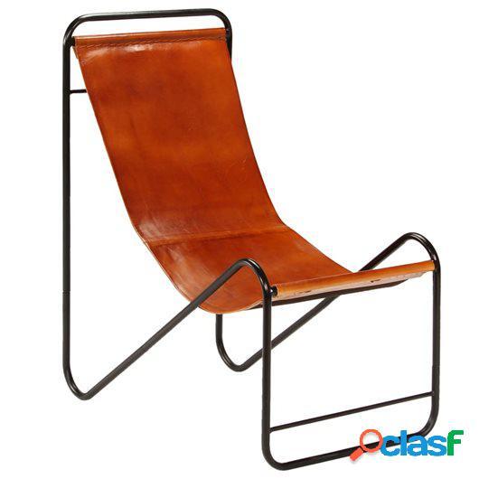 Silla de relajación de cuero auténtico marrón 50x78x90 cm