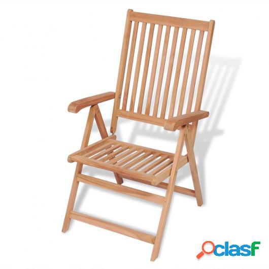 Silla reclinable de jardín madera maciza de teca