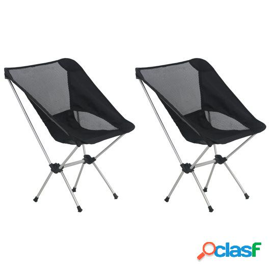 Sillas camping plegables 2 uds con bolsa aluminio 54x50x65