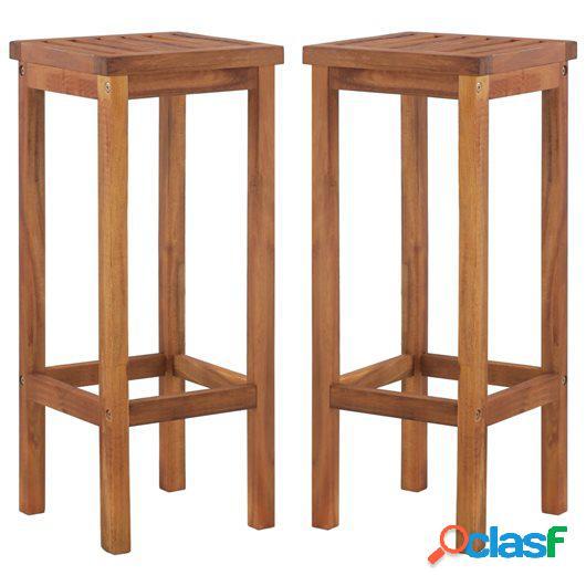 Sillas de bar de exterior 2 unidades de madera maciza acacia