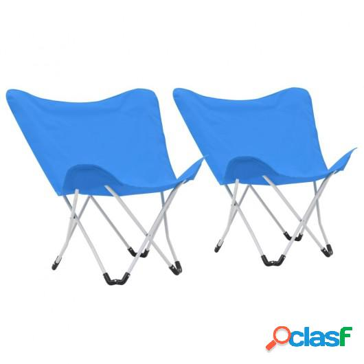 Sillas de camping estilo mariposa plegables 2 unidades azul