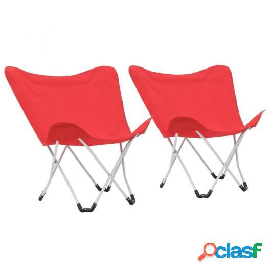 Sillas de camping estilo mariposa plegables 2 unidades rojas