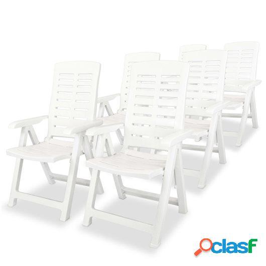 Sillas de jardín reclinables 6 unidades plástico blanco