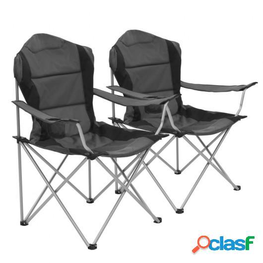 Sillas plegables de camping 2 unidades gris 96x60x102 cm
