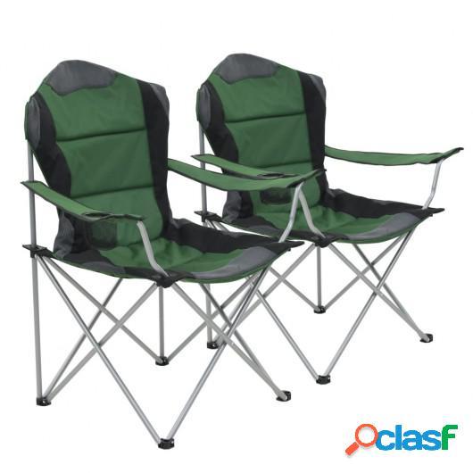 Sillas plegables de camping 2 unidades verde 96x60x102 cm