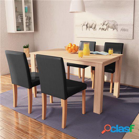 Sillas y mesa comedor 5 piezas roble y cuero artificial