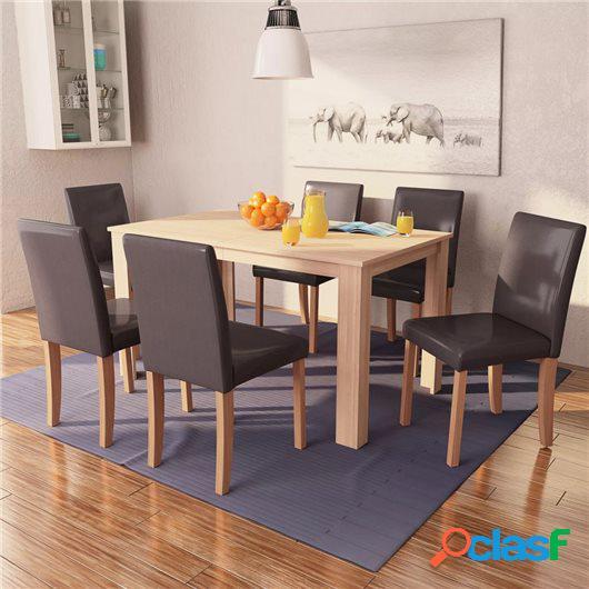 Sillas y mesa de comedor 7 pzas roble y cuero artificial