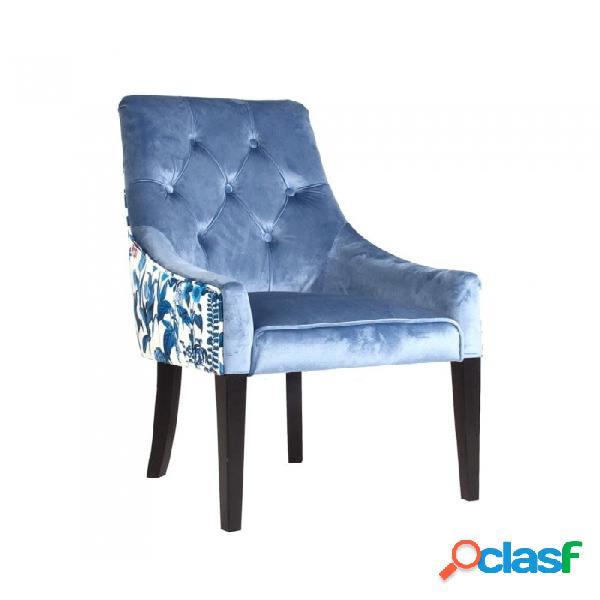 Sillón Azul Madera Y Poliester Clasico 61 X 63 97