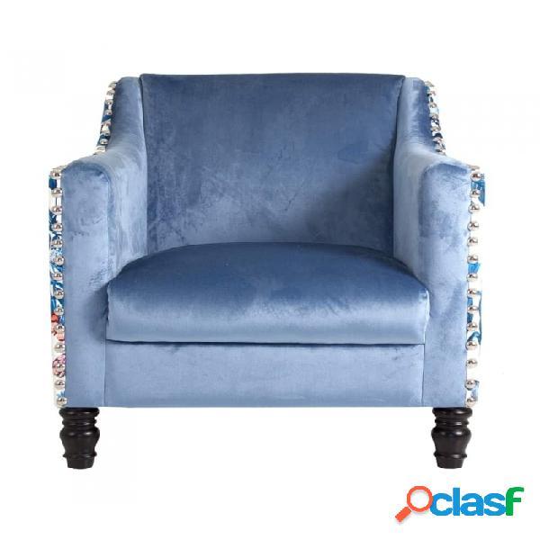 Sillón Azul Madera Y Poliester Clasico 70 X 72 80