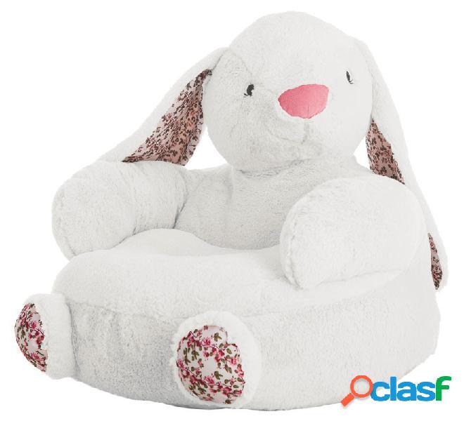 Sillón de Conejo Blanco con Flores de 45 cm