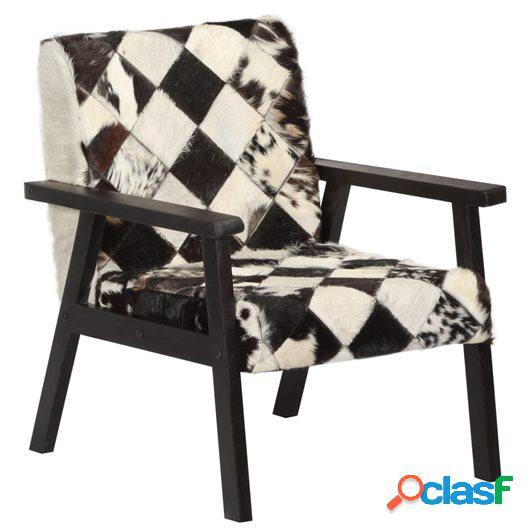 Sillón de cuero auténtico blanco y negro 61x70x74 cm