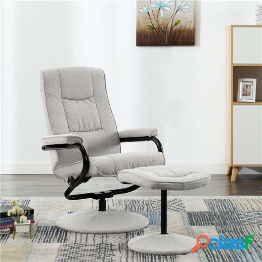 Sillón reclinable con reposapiés de tela gris claro