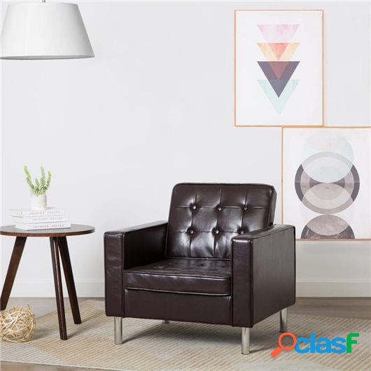 Sillón tapizado de piel sintética marrón 75x70x75 cm