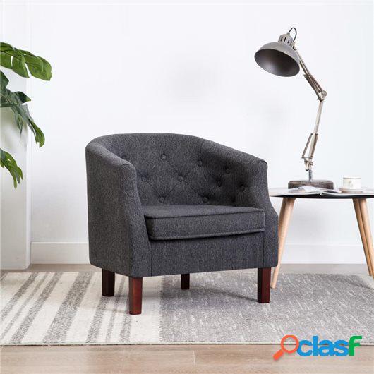 Sillón tapizado de tela gris oscuro 65x64x65 cm
