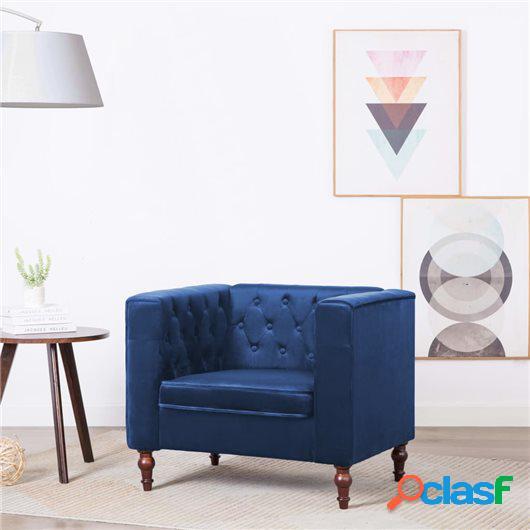 Sillón tapizado de terciopelo 86x67x71 cm azul