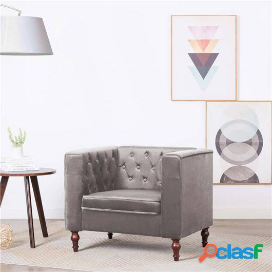 Sillón tapizado de terciopelo 86x67x71 cm gris