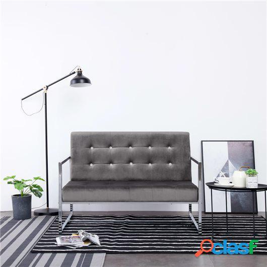 Sofá 2 plazas con reposabrazos cromado y terciopelo gris