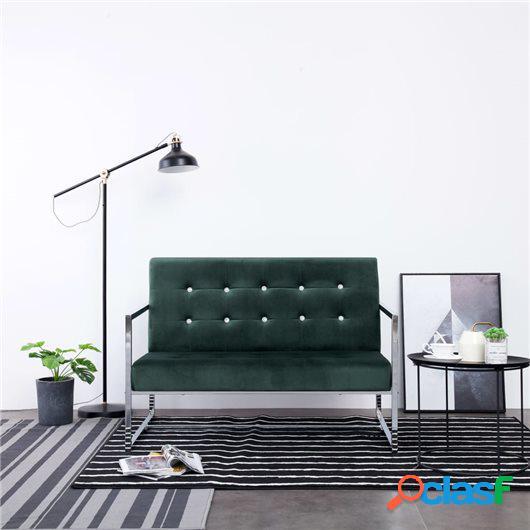 Sofá 2 plazas con reposabrazos cromados terciopelo verde