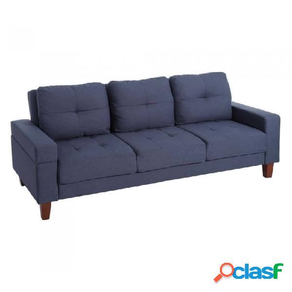 Sofá Azul Madera Clasico 195.00 X 93.00 88.00
