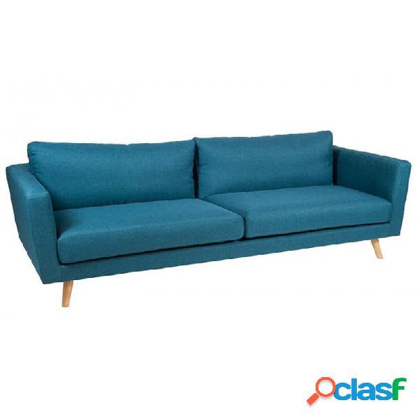 Sofá Azul Madera Moderno 211 X 88 83