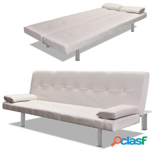 Sofá cama con dos almohadas ajustable cuero artificial