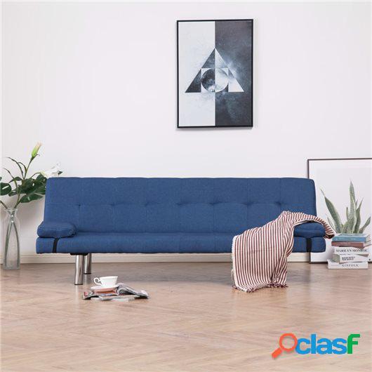Sofá cama con dos almohadas de poliéster azul