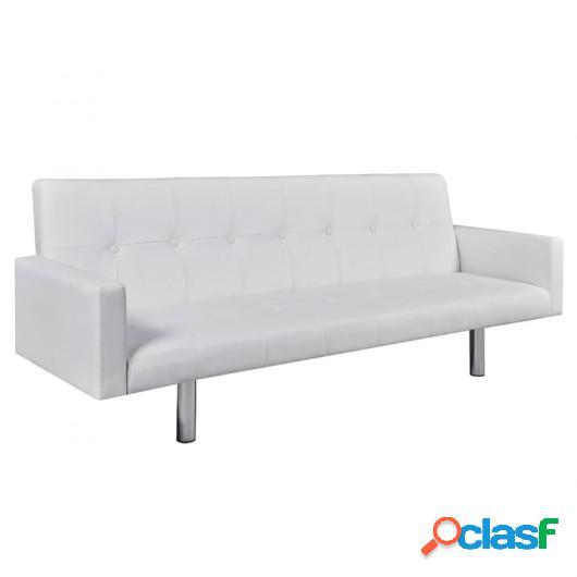 Sofá cama con reposabrazos de cuero artificial blanco