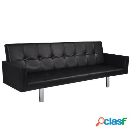 Sofá cama con reposabrazos de cuero artificial negro