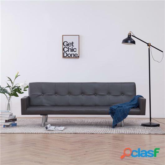 Sofá cama con reposabrazos de cuero sintético gris