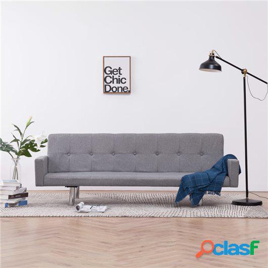 Sofá cama con reposabrazos de poliéster gris claro