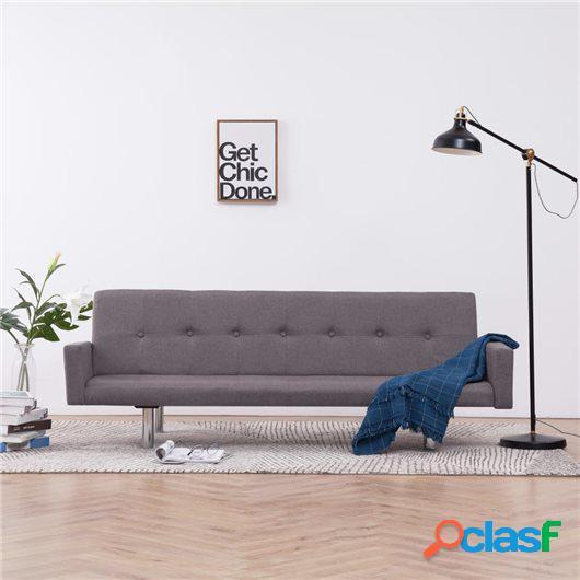 Sofá cama con reposabrazos de poliéster gris taupe