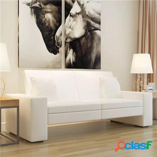 Sofá cama de cuero artificial blanco