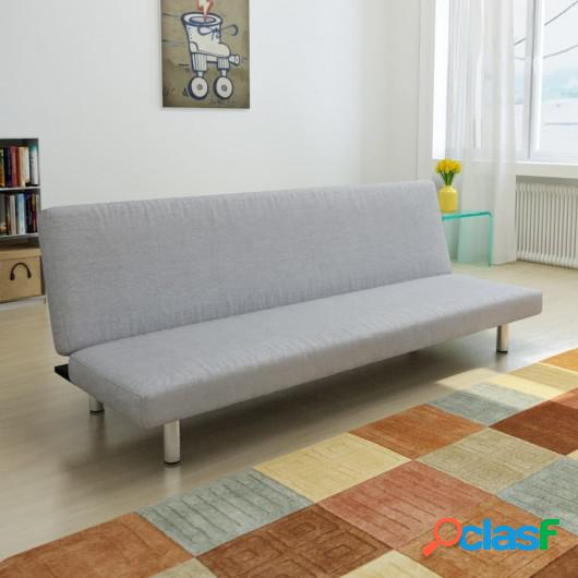 Sofá cama de poliéster gris claro