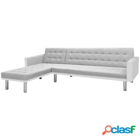 Sofá cama esquinero tela 218x155x69 cm blanco y gris