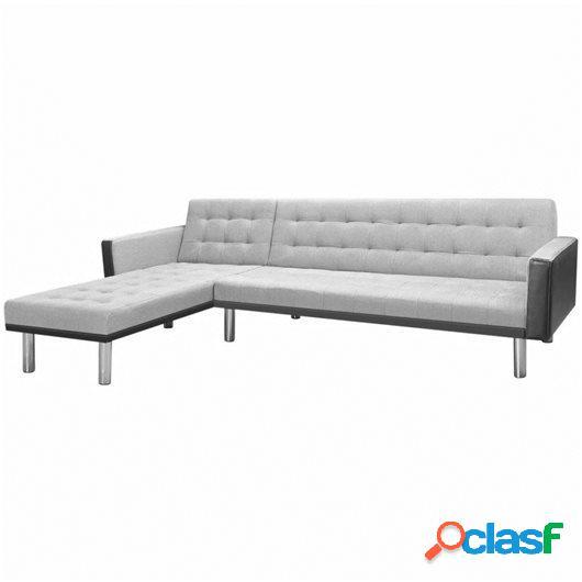 Sofá cama esquinero tela 218x155x69 cm negro y gris