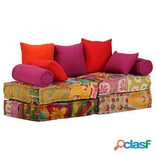 Sofá cama modular de 2 plazas de tela Patchwork