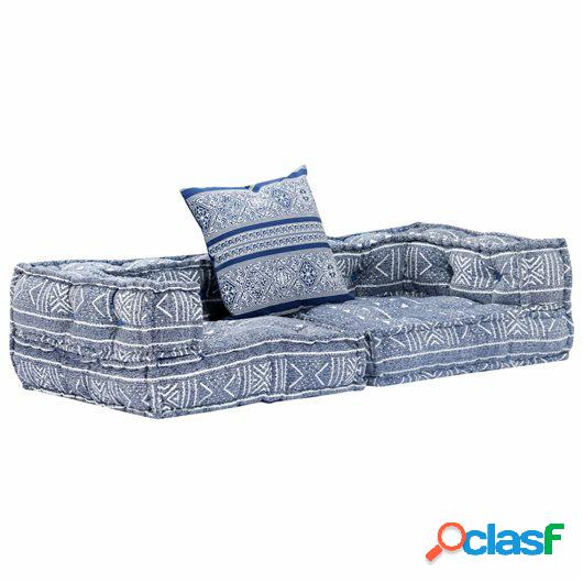 Sofá cama modular de 2 plazas tela añil