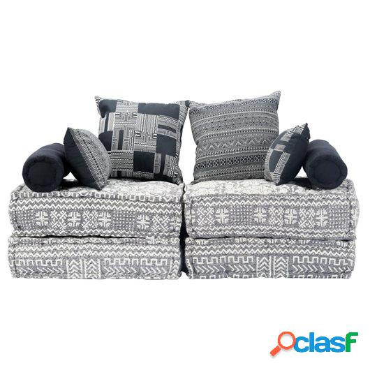 Sofá cama modular de 2 plazas tela gris