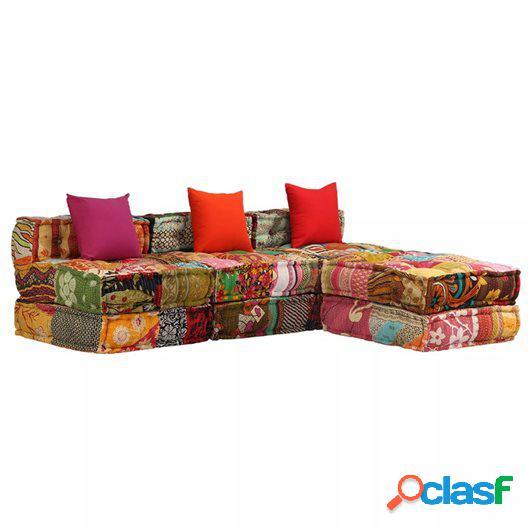 Sofá cama modular de 3 plazas de tela Patchwork