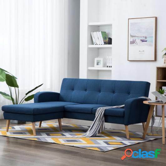 Sofá con forma de L tapizado de tela azul 186x136x79 cm