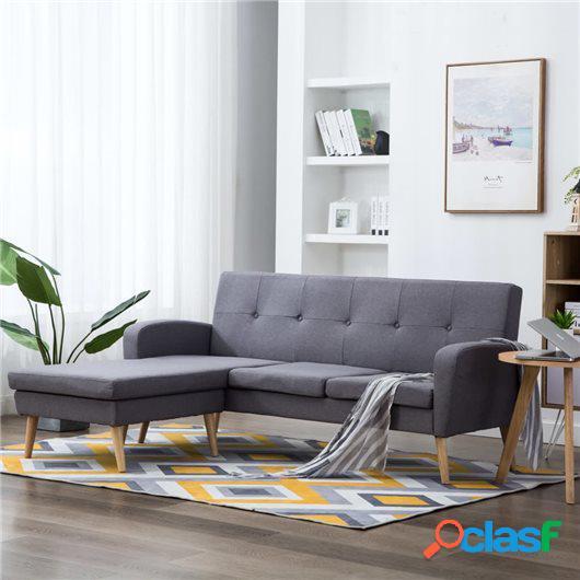 Sofá con forma de L tapizado de tela gris claro 186x136x79