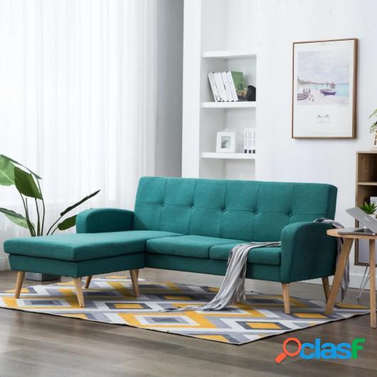 Sofá con forma de L tapizado de tela verde 186x136x79 cm